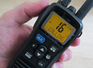 ICOM IC M73 EURO with the screen light on