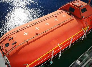 View from above of a lifeboat on a tanker