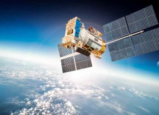 Satellite orbiting above the earth