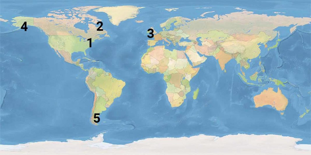 Graphic showing the locations of the highest tides in the world