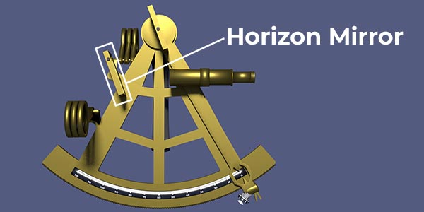 Sextant image highlighting the horizon mirror