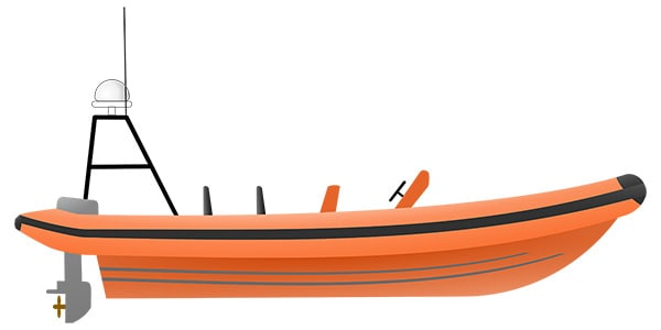 Vector drawing of a fast rescue boat