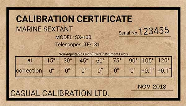Example sextant calibration certificate