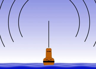 Vector image of an EPIRB with transmission lines