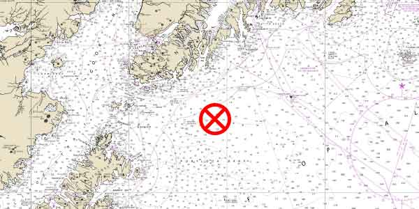Nautical chart with an AIS chart symbol on it