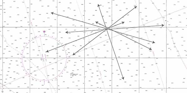 Six celestial lines of position plotted on a nautical chart