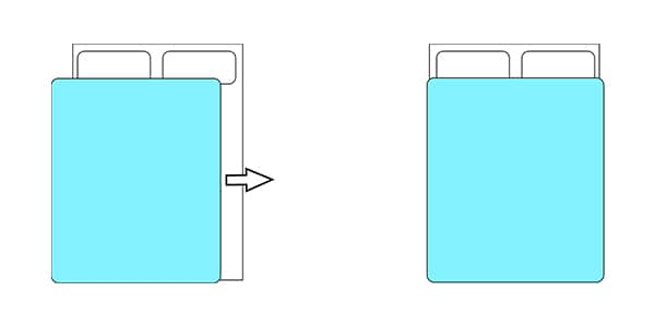 Diagram with two beds. one has the duvet partially off, the other has the duvet in place