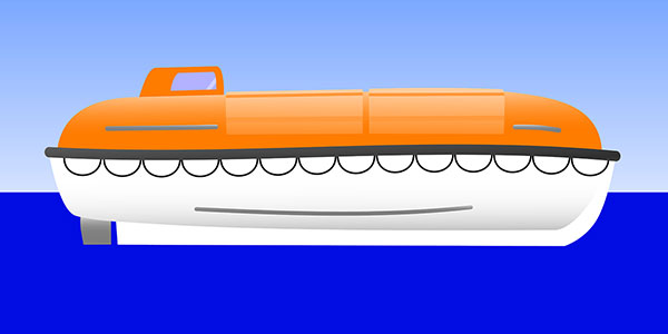 Vector graphic of a partially enclosed lifeboat