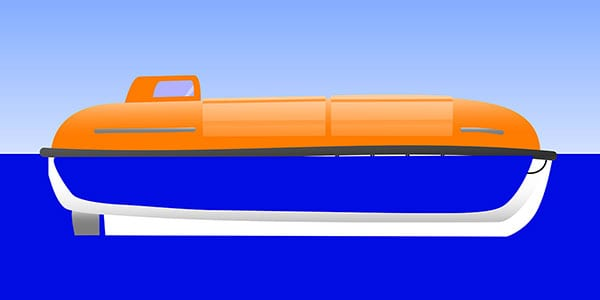 Vector graphic of a flooded partially enclosed lifeboat