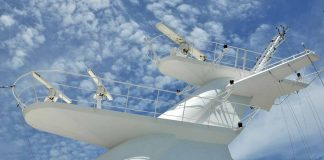 Radars and antennas on the mast of a superyacht