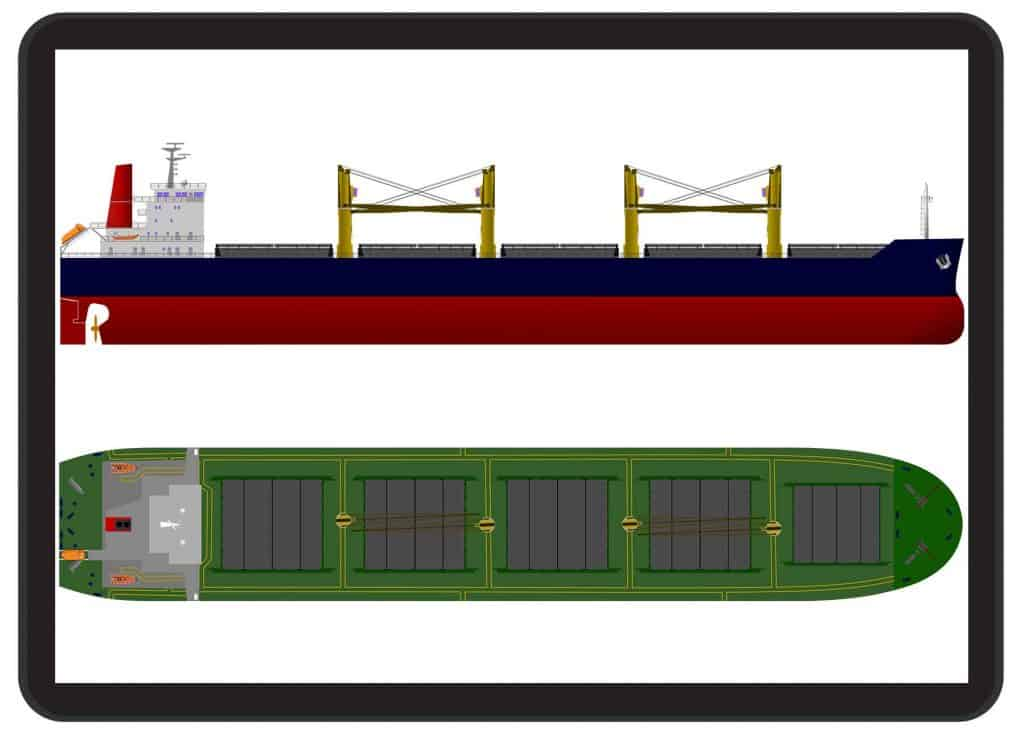 detailed cargo vessel drawing