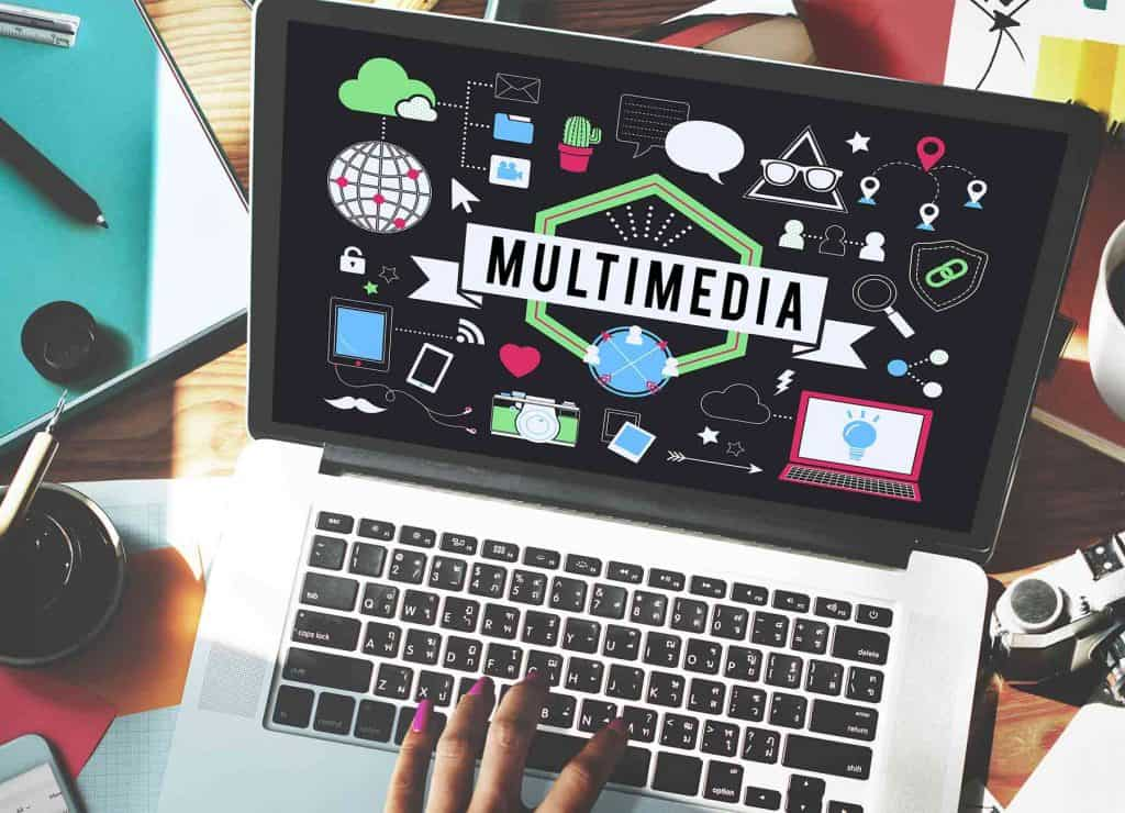 multimedia production graphics on screen of a laptop