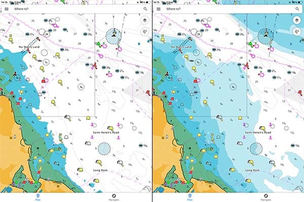 Side by side comparison of depth contour settings in C-Map