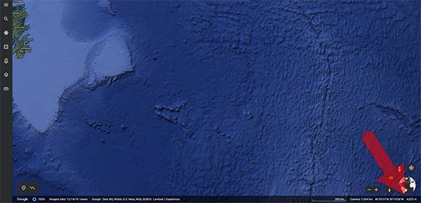 Google Earth highlighting where you find the water depth