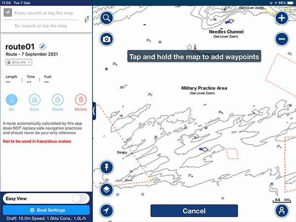 Route planning hints within the Navionics app