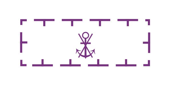 Anchoring prohibited symbol from a nautical chart