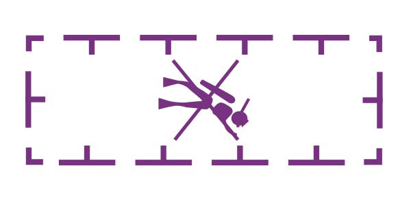 Diving prohibited symbol from a nautical chart