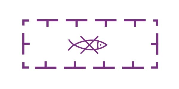 Fishing prohibited symbol from a nautical chart